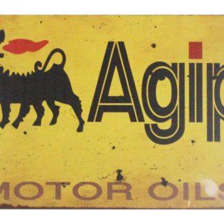 Agip Motor Oils tin metal sign 0649a Gas Oil Automotive Agip