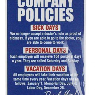 Company Policies tin metal sign 0669a Gas Oil Automotive buy printer