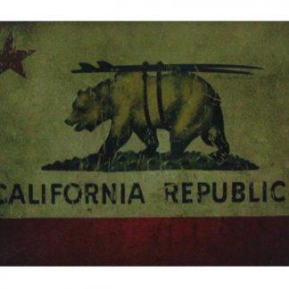 California Republic Surfing surfboard bear tin metal sign 0673a Metal Sign bear