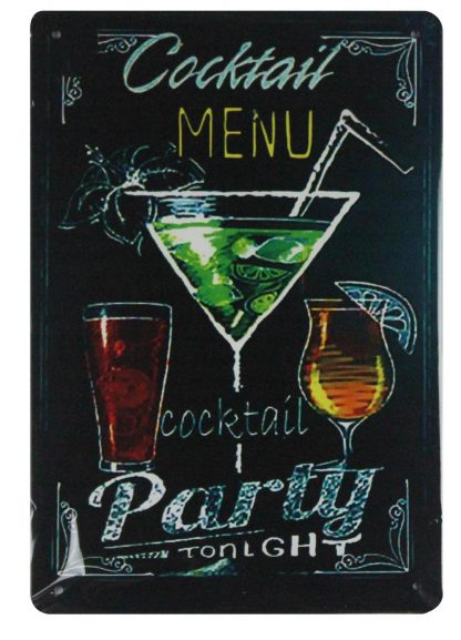 Cocktail Menu party tonight pub bar drink metal sign 0674a Beer Wine Liquor bar
