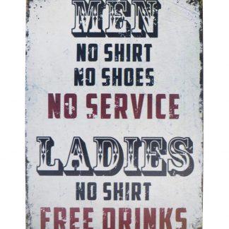 Men Ladies No shirt Free drinks tin metal sign 0682a Beer Wine Liquor cool art prints