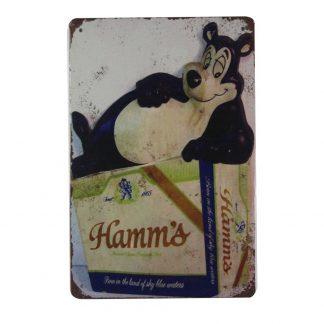 Hamm's beer bear pub bar tin metal sign 0700a Beer Wine Liquor art prints