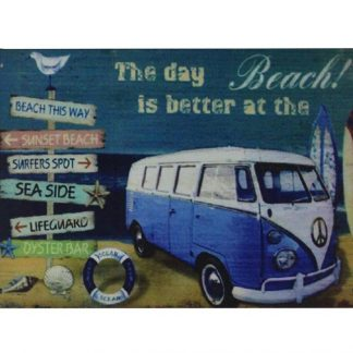 Day is better at Beach old car tin metal sign 0701a Gas Oil Automotive at
