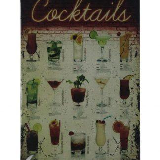 Cocktails drink bar pub cafe tin metal sign 0707a Beer Wine Liquor bar