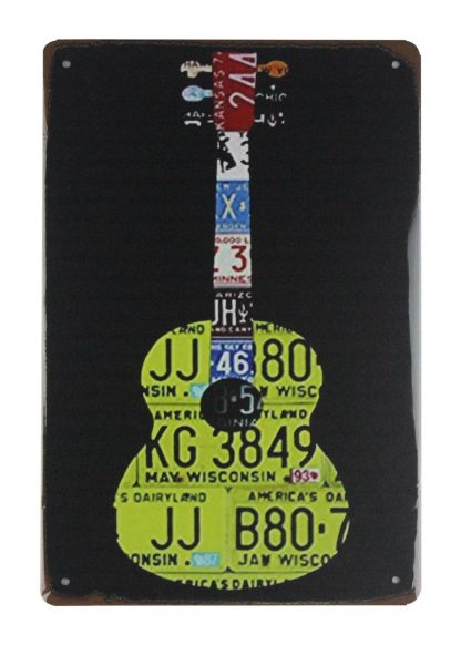 car license plate guita tin metal sign 0732a Metal Sign bar clubizable plaques signs