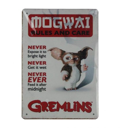 Gremlins Rules Mogwai Care Guidelines tin sign 0736a Metal Sign Care