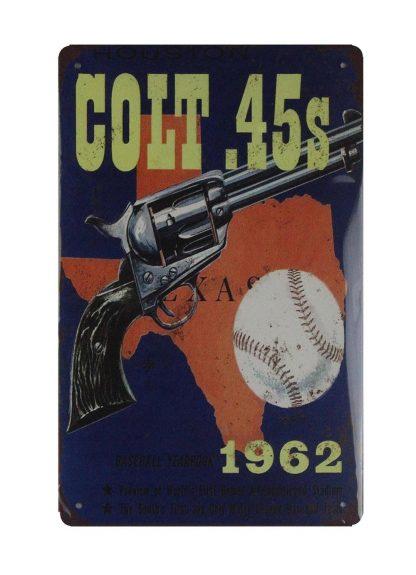 Houston Colt .45s firearm handgun tin metal sign 0740a Metal Sign .45s