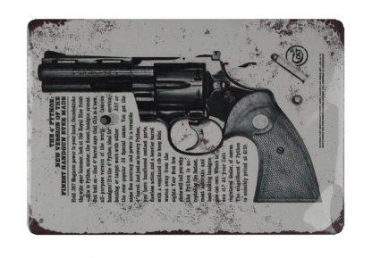 1960 Colt Python .357 Magnums firearm handgun metal sign 0742a Metal Sign .357