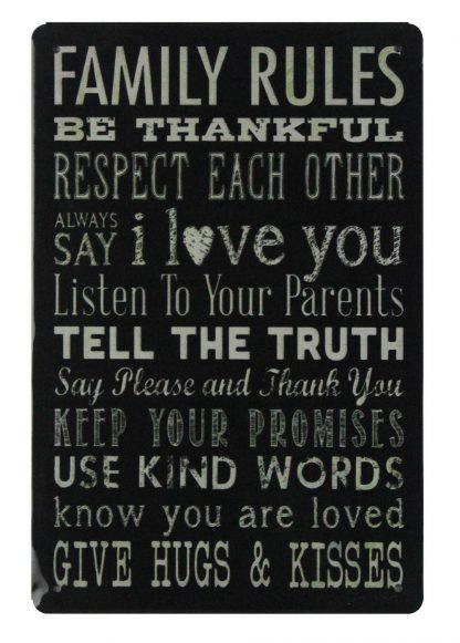 Family Rules tin metal sign 0760a Metal Sign artistic room decor