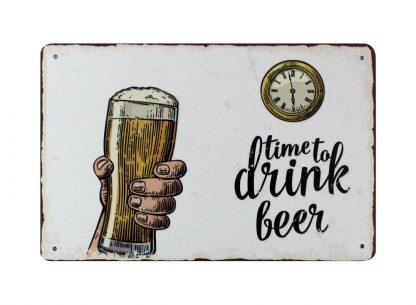 Time to drink beer pub bar tin metal sign 0821a Beer Wine Liquor bar