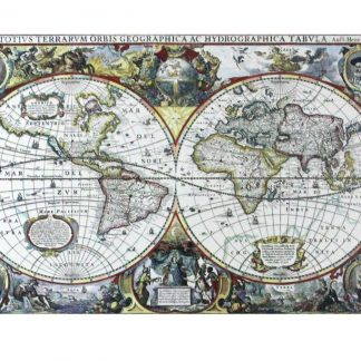 1630 Geographic Hydrographic world map tin metal sign 0832a Metal Sign 1630