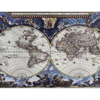 Historical 1665 atlas map world map tin metal sign 0833a Gas Oil Automotive 1665