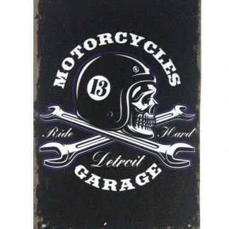 Motorcycles detroit garage wrench tin metal sign 0841a Gas Oil Automotive Detroit