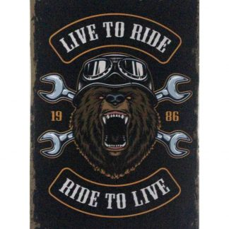 Live to ride, ride to live 1986 tin metal sign 0842a Metal Sign 1986