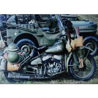vintage military motorcycle tin metal sign 0854a Gas Oil Automotive brew pub dealership office decor