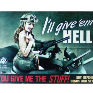 I'll give 'em hell tin metal sign 0866a Gas Oil Automotive 'em