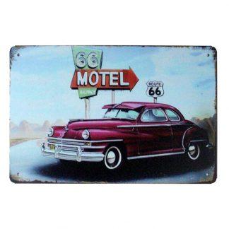 round 66 vintage car Motel tin metal sign 0884a Gas Oil Automotive 66