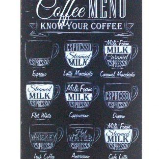 Coffee menu know your coffee tin metal sign 0888a Metal Sign artwork prints