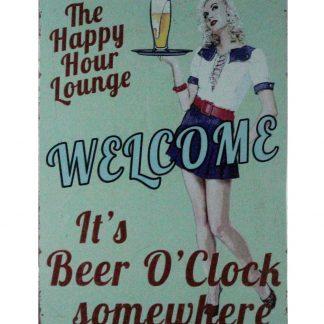happy hour lounge beer o'clock bar metal sign 0891a Beer Wine Liquor bar