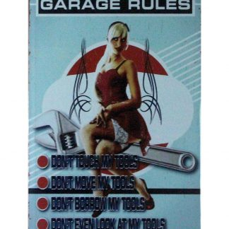 Garage Rules pin up sexy women tin metal sign 0892a Metal Sign cheap tin signs