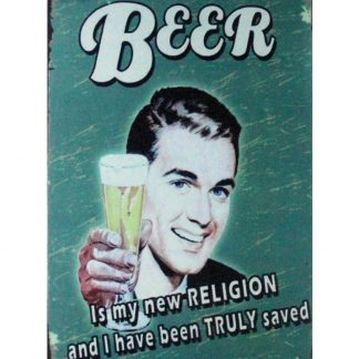 Beer is my new religion pub bar tin metal sign 0900a Beer Wine Liquor bar