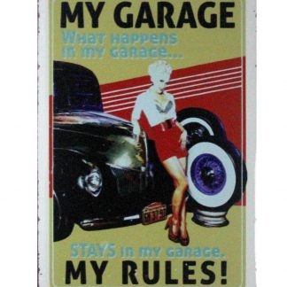 My garage my rules tin metal sign 0904a Metal Sign bar club design