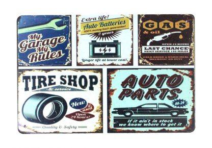 My garage rules GAS Tire Shop Auto Parts tin metal sign 0906a Gas Oil Automotive auto