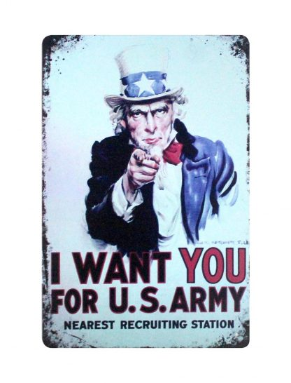 I Want You For U.S.Army Uncle Sam tin metal sign 0925a Metal Sign artwork prints for sale