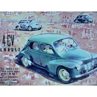 4CV Renault old car tin metal sign 0927a Gas Oil Automotive 4CV