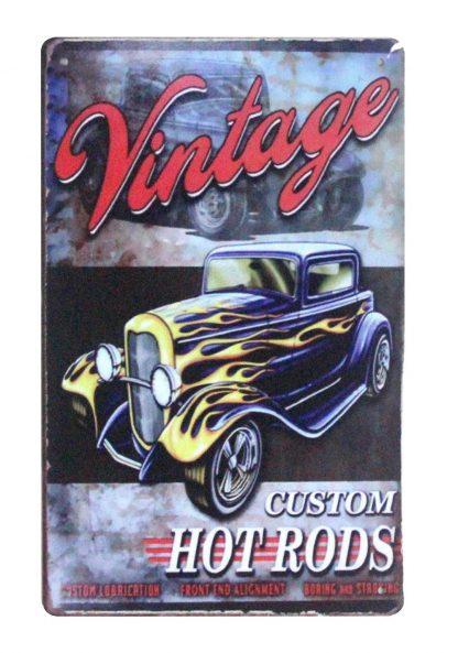 Vintage Custom Hot Rods car tin metal sign 0935a Metal Sign car