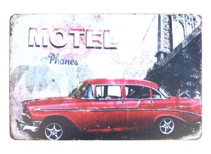 Motel car tin metal sign 0936a Metal Sign car
