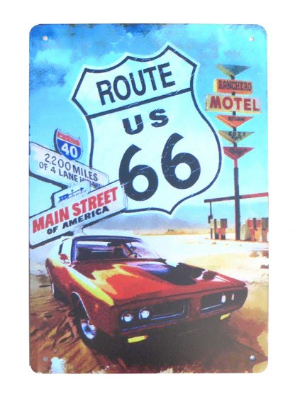 ROUTE US 66 old car tin metal sign 0959a Gas Oil Automotive car