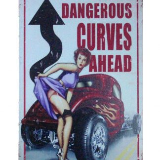 Dengerous Curves Ahead pin-up girl metal sign 0961a Metal Sign ahead