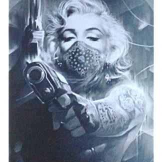 Marilyn Monroe Tattoos Gun tin metal sign 0966a Gas Oil Automotive garden outdoor wall decoration