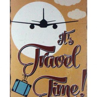 It's Travel Time airplane tin metal sign 0985a Metal Sign Airplane