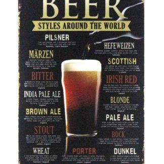 Beer Styles Liquor Shop Bar Cave tin metal sign 0998a Beer Wine Liquor accent wall