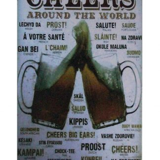 Cheers Around The World beer pub tin metal sign 0999a Beer Wine Liquor around