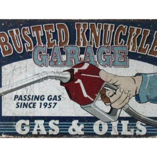 Busted Knuckle Garage Gas Oils tin metal sign 1024a Gas Oil Automotive Busted