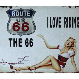 Route 66 I Love Riding pin-up tin metal sign 1029a Gas Oil Automotive home bar wall decor