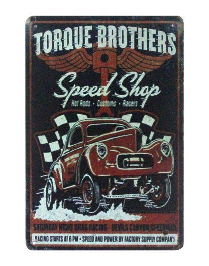 Torque Brothers Speed Shop car garage metal sign 1034a Metal Sign Brothers