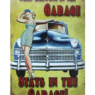 What Happens in Garage Stays in Garage tin metal sign 1035a Metal Sign cheap man cave