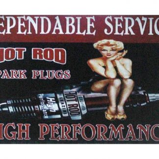 pin-up hot rod spark plugs tin metal sign 1040a Metal Sign cool signs sale