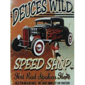 Deuces Wild Auto Shop Garage pin-up girl metal sign 1043a Metal Sign auto shop