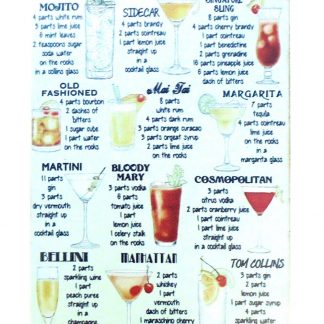 Classic Cocktail Recipes Booze Bar Shop metal sign 1047a Beer Wine Liquor bar