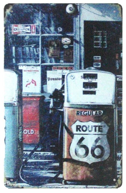 gas station garage Route 66 tin metal sign 1060a Gas Oil Automotive discount wall decor home accents