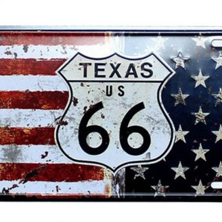 Texas rounte 66 US Flag patriotic metal tin sign b50-5 Gas Oil Automotive 66