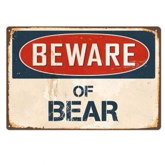beware of bear metal tin sign b64-beware-C-3 Metal Sign beware of bear