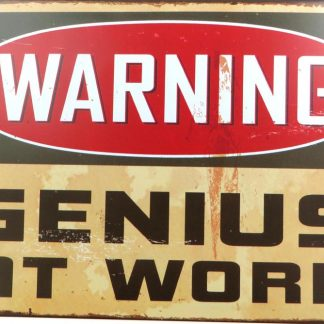 Genius At Work warning tin sign work  sale metalsign04-2 Metal Sign aluminum plaques