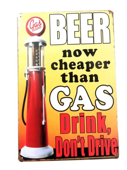 Beer Now Cheaper Than Gas tin sign art and posters metalsign08-1 Beer Wine Liquor and