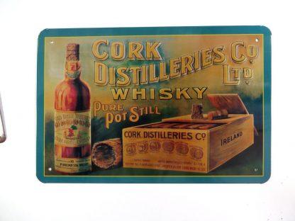 Cork Distillery's Whiskey Co Ltd Old Irish tin sign   metalsign11-3 Metal Sign Co